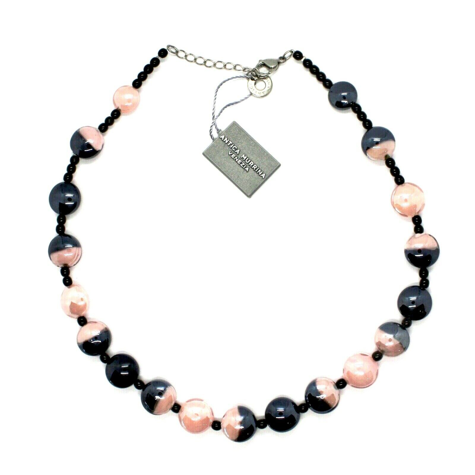 Necklace Antique Murrina COA39A03 with Murano Glass Pink and Black to Choker