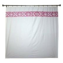 Threshold Embroidered Shower Curtain Fushia White Cotton - $14.84