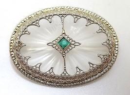 14K Gold Art Deco Crystal Quartz Brooch (#J110) - $549.99