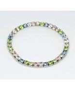 Pastel Multi-Color Glass Rhinestone Silver Tone Stretch Bracelet - $13.86