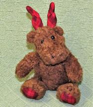 "7"" Bath Body Works Christmas Moose Reindeer Brown Plush Red Plaid Antlers Toy - $11.88"