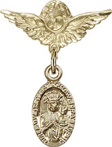 14K Gold Filled Baby Badge with O/L of Czestochowa Charm Pin 7/8 X 3/4 inch - $90.96