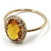 SOLID 18K ROSE GOLD FLOWER RING, OVAL YELLOW QUARTZ, CUBIC ZIRCONIA FRAME  image 2