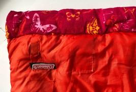 "Vintage Coleman Sleeping Bag Butterfly Motif Flannel Lined Orange Camping 62""  - $49.95"