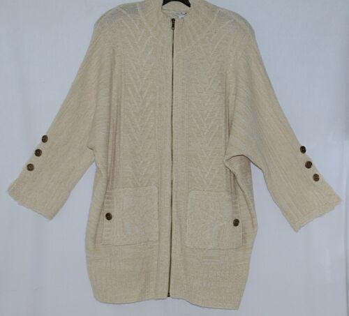 Simply Noelle Brand JCKT222SM Womens Pearl Zipper Knit Sweater Jacket Size SM