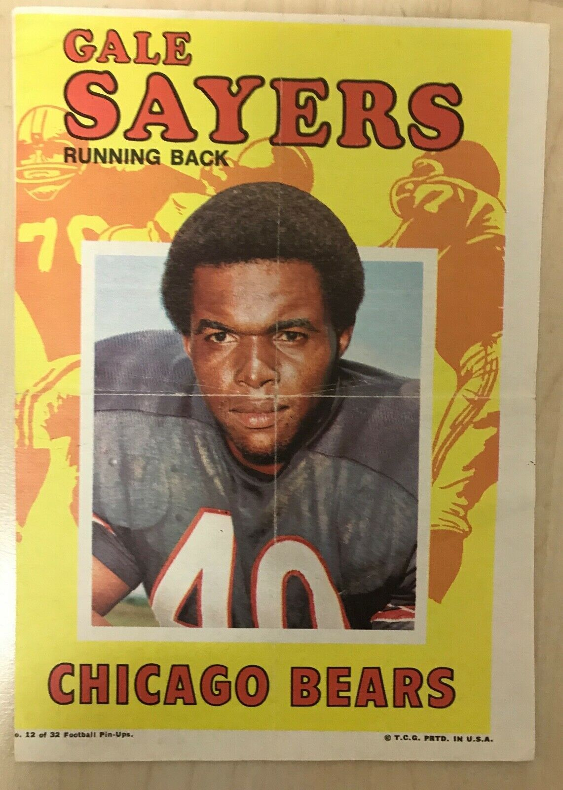 1971 Topps Football Pin-Ups Gale Sayers #12