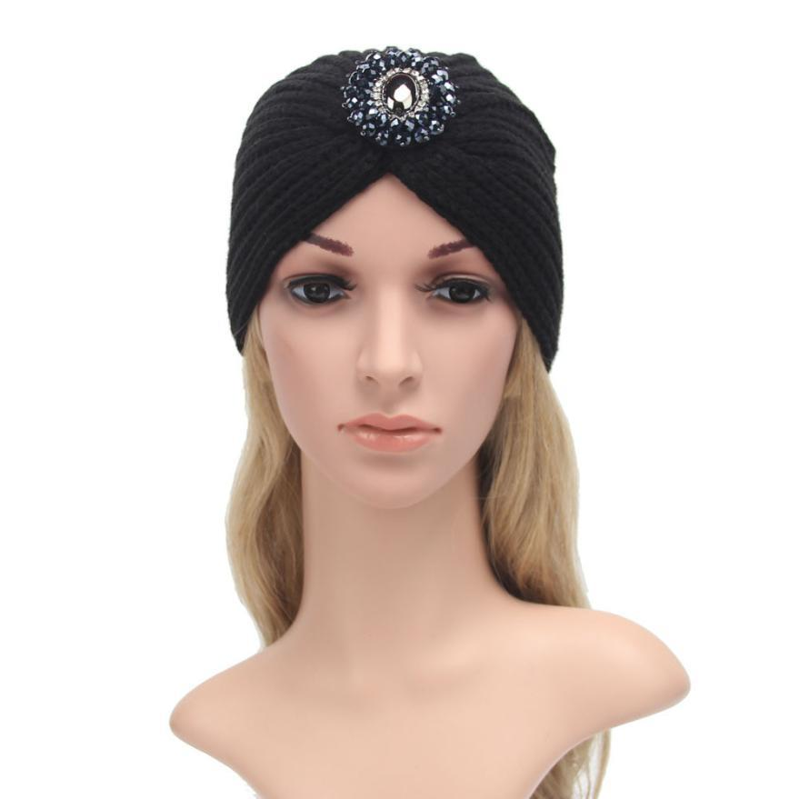 Primary image for Fashion diamond decoration Womens Winter Warm Knit Crochet Ski Hat Braided Turba