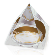 "Cappuccino Kitty Latte Art Photograph Cat 2"" Crystal Pyramid Paperweight - $15.99"