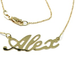 18K YELLOW GOLD NAME NECKLACE, ALEX, MINI ROLO CHAIN 0.5mm 42 cm, MADE IN ITALY image 2