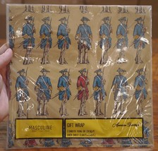 NEW Vtg American Greetings Colonial US Revolution Soldiers Gift Wrapping Paper - $15.19