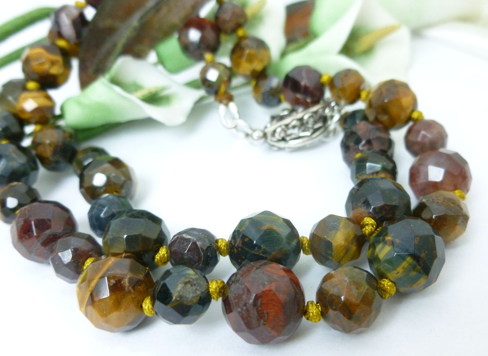 Primary image for Golden Brown and Red Tiger Faceted Gemstone Beaded Necklace 21 inch