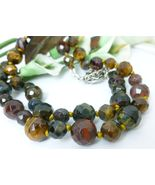 Golden Brown and Red Tiger Faceted Gemstone Beaded Necklace 21 inch - $59.00