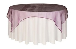 Your Chair Covers - 72 inch Square Organza Table Overlay Eggplant, Light... - $10.15