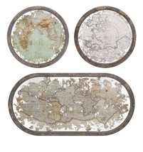 Classy Mirrored Map Wall Decor - Set of 3 - $152.37