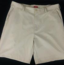Izod Mens Cargo Shorts Khaki Cotton Flat Front Sz 38 Beige A7-18 - $13.08