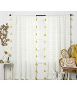 1 Contrast Stripe Light Filtering Curtain Panel Tassels White Yellow Opa... - $24.74