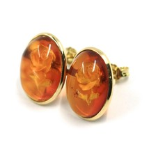 18K YELLOW GOLD EARRINGS, CABOCHON CENTRAL OVAL AMBER ENGRAVED ROSES FLOWERS image 2