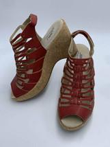 NEW JBU By Jambu 8 Lillian Red Gladiator Cork Wedge Heels Shoes - $36.99