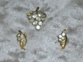 VINTAGE Grape Cluster RHINESTONE CLIP EARRINGS & PIN Goldtone Leaves SPA... - $16.40
