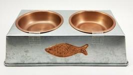 "Metal Dual Pet Feeder Metal. Water & Food Removable Bowls. Fish Logo 10""... - $31.74"