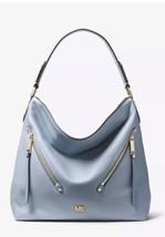 Michael Kors Evie Large Hobo Shoulder Bag Pebbled Leather Color-Pale Blu... - $158.00