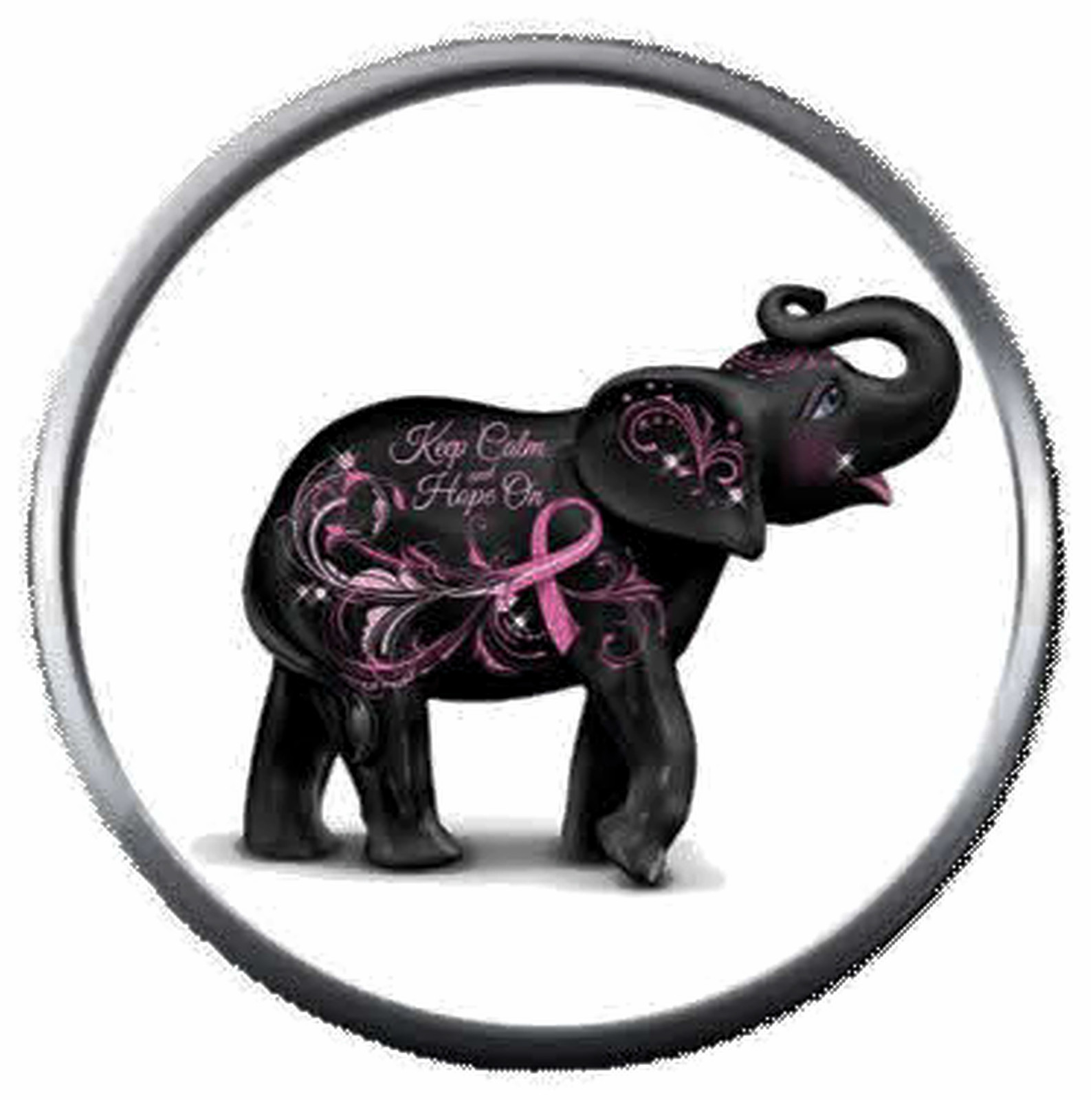 Jan Elephant Strength Courage Breast Cancer Ribbon 18MM-20MM Snap Jewelry Charm