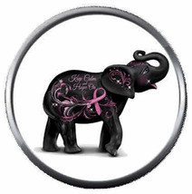 Jan Elephant Strength Courage Breast Cancer Ribbon 18MM-20MM Snap Jewelry Charm - $5.95