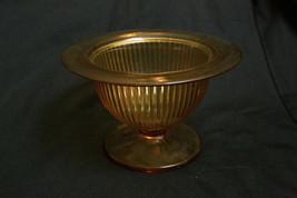 Vintage Hazel Atlas Vertical Ribbled Amber Glass Footed Bowl - $14.85