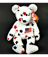 "Vintage Original TY Beanie Baby-1998 Glory Bear-White Red Blue 9""-New w/... - $41.71"