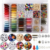 Jewelry Making Kit Set Colorful 48 Embroidery Thread Beads Hooks Complet... - $49.95