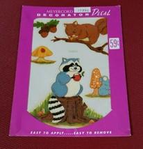 Vintage MEYERCORD DECAL 1535-C Woodland Acorns Mushrooms Raccoon Squirrel - $6.26