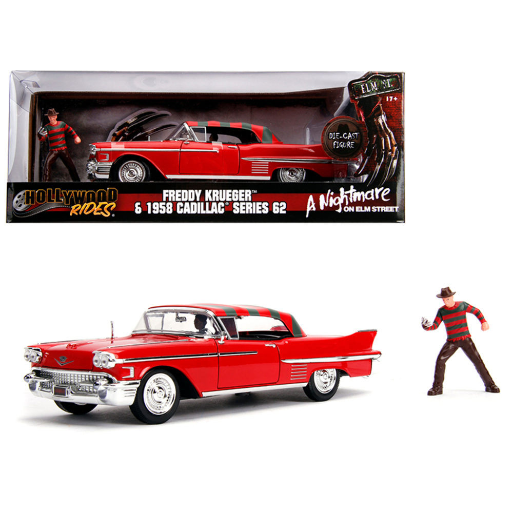 1958 Cadillac Series 62 Red with Freddy Krueger Diecast Figure A Nightmare on El