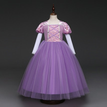 Short Sleeve Sexy Purple Tulle Pricess Wedding Flower Girls Dresses Party Gowns  image 4