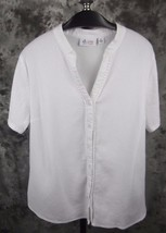 Denim & Co Gauze Shirt Top XL White Short Sleeve Cotton - $18.99