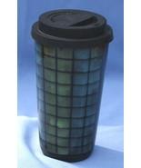 Pottery Housewares International Cup Glass w/ Lid Heavy Coffee Blue Gree... - $9.72