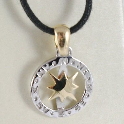 18K WHITE & YELLOW GOLD WIND ROSE COMPASS PENDANT, CHARM, BICOLOR, MADE IN ITALY
