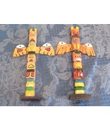 "Pair 10"" Wood Vintage Totem Pole  Nice Paint Mid Century  - $19.90"