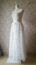 Embroidery White Lace Tulle Maxi Skirt Alternative Wedding Party Bridal Skirts image 3