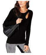 INC Womens Petite Cut-out Asymmetric Ribbed Casual Deep Black Sweater Size PM - $14.30