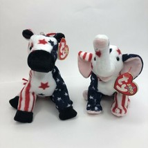 TY Beanie Babies 2000 Righty Elephant Lefty Donkey With Tags Election Vo... - $23.32