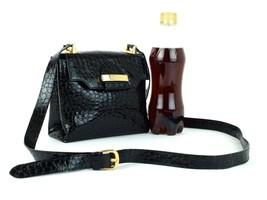 Auth SALVATORE FERRAGAMO Black Patent Leather Cross Body Shoulder Bag Pu... - $216.81