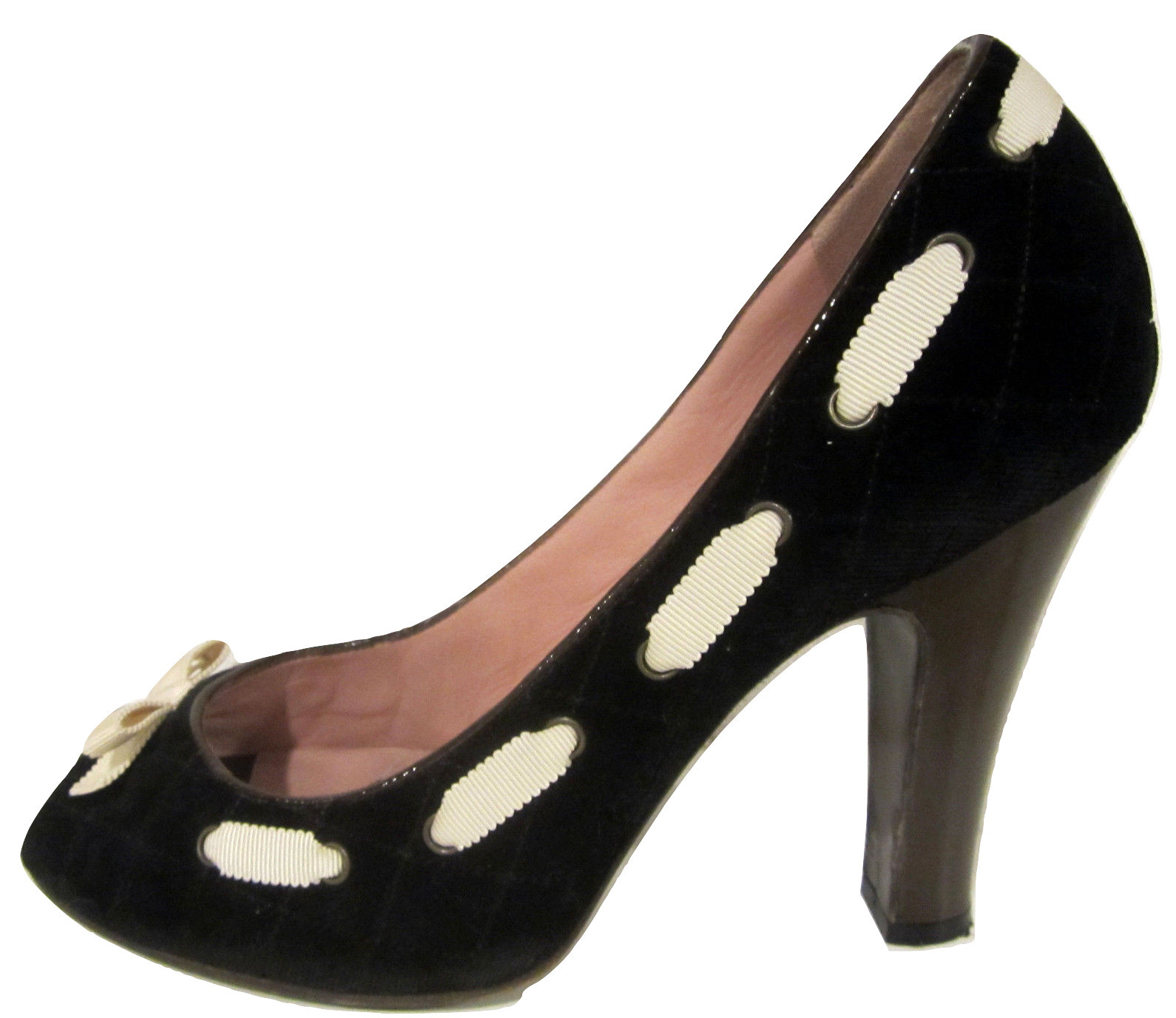 Primary image for Marc by Marc Jacobs Peeptoe Heels 40.5 / 10.5 black quilted velvet & ivory bows