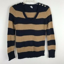 J Crew Womens Sweater Size Small S Wool Long Sleeve Blue Striped Pull Ov... - £13.21 GBP