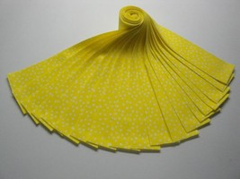 """Jelly Roll-White Polka Dots on Yellow B/G-20-2-1/2"""" x 44"""" Strips-Choice ... - $13.95"""