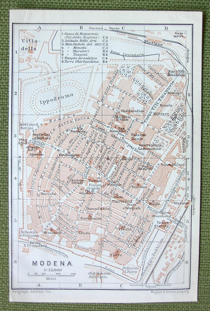 1906 MAP ORIGINAL Baedeker - ITALY Modena City Plan