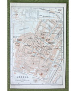 1906 MAP ORIGINAL Baedeker - ITALY Modena City Plan - $4.73