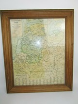 Vintage Framed Map of LITHUANIA W/ Counties Roads Cities 24 X 20 Glass - $79.13
