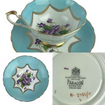 Vintage Paragon England Turquoise Violets Floral Cup & Saucer Bone China England - $116.56