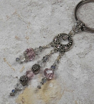 Chandelier Crystal Beaded Handmade Keychain Split Key Ring Pink Blue Silver - $16.48