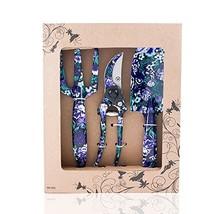 FLORA GUARD 3 Piece Aluminum Garden Tool Set with Purple Print - Trowel, Cultiva